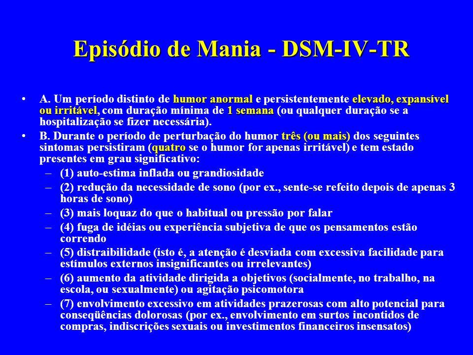 Episódio de Mania - DSM-IV-TR humor anormalelevado, expansível ou irritável1 semanaA. Um período distinto de humor anormal e persistentemente elevado,