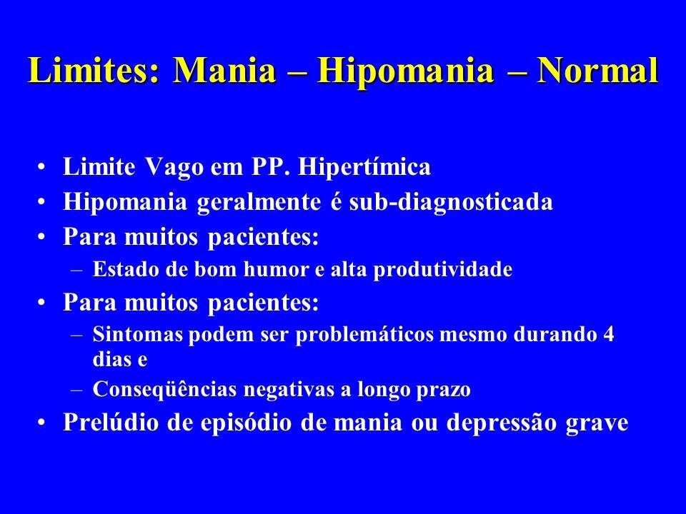 Limites: Mania – Hipomania – Normal Limite Vago em PP. Hipertímica Hipomania geralmente é sub-diagnosticada Para muitos pacientes: –Estado de bom humo