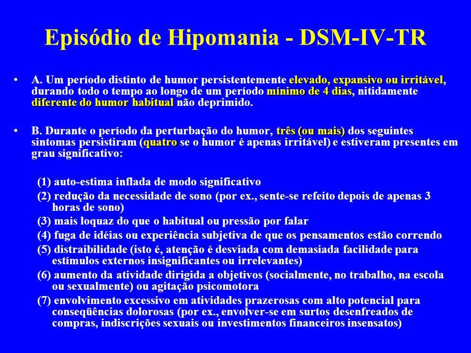 Episódio de Hipomania - DSM-IV-TR elevado, expansivo ou irritável mínimo de 4 dias diferente do humor habitualA. Um período distinto de humor persiste