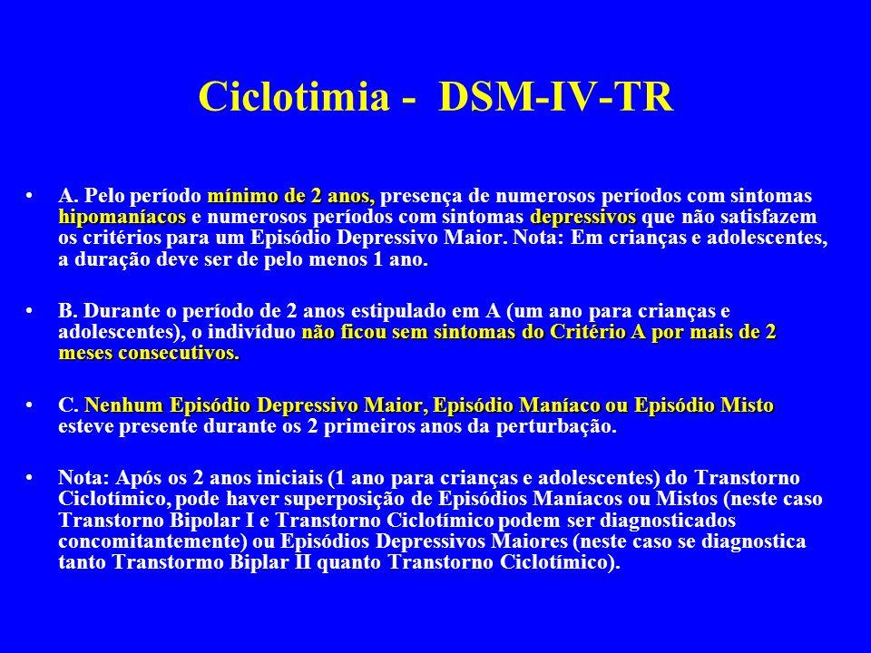 Ciclotimia - DSM-IV-TR mínimo de 2 anos, hipomaníacos depressivosA. Pelo período mínimo de 2 anos, presença de numerosos períodos com sintomas hipoman