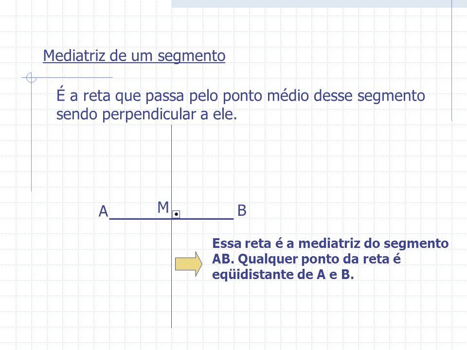 Mediatriz de um segmento É a reta que passa pelo ponto médio desse segmento sendo perpendicular a ele. A B M Essa reta é a mediatriz do segmento AB. Q