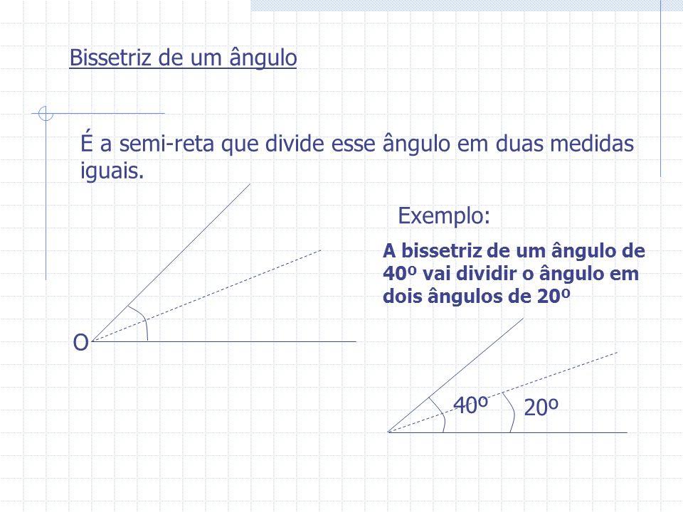 Bissetriz de um ângulo É a semi-reta que divide esse ângulo em duas medidas iguais. O Exemplo: A bissetriz de um ângulo de 40º vai dividir o ângulo em