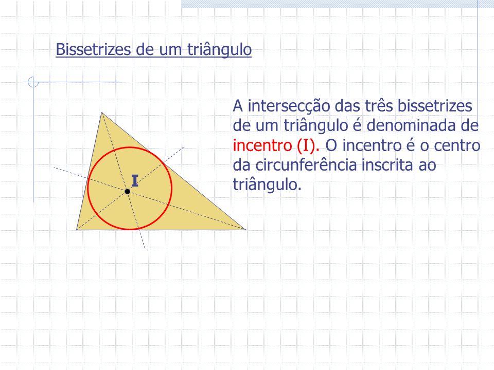 Bissetrizes de um triângulo I A intersecção das três bissetrizes de um triângulo é denominada de incentro (I). O incentro é o centro da circunferência