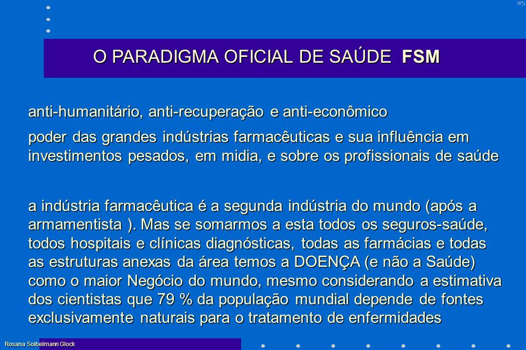 O PARADIGMA OFICIAL DE SAÚDE FSM anti-humanitário, anti-recuperação e anti-econômico poder das grandes indústrias farmacêuticas e sua influência em in