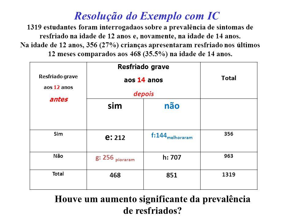 A diferença estimada na proporções (p 1 - p 2 ) é (f - g) / n.