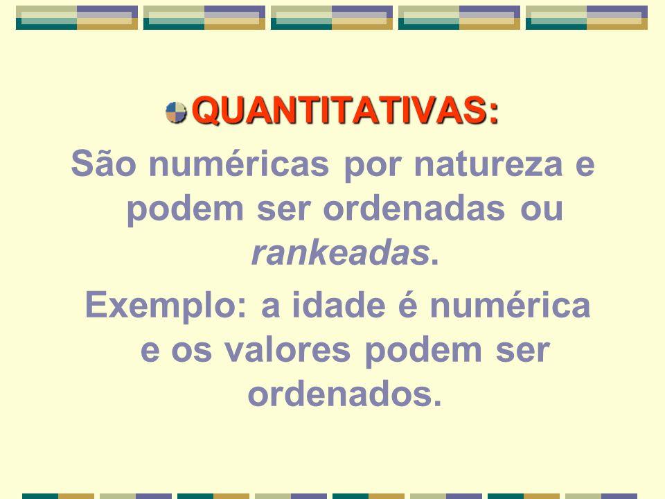 NOMINAL Variáveis podem ser classificadas em grupos Código numérico atribuído às possíveis respostas O número real do código nada significa