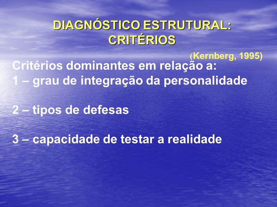 DIAGNÓSTICO ESTRUTURAL: CRITÉRIOS ( Kernberg, 1995) Critérios dominantes em relação a: 1 – grau de integração da personalidade 2 – tipos de defesas 3