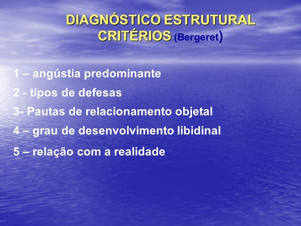 DIAGNÓSTICO ESTRUTURAL CRITÉRIOS CRITÉRIOS (Bergeret ) 1 – angústia predominante 2 - tipos de defesas 3- Pautas de relacionamento objetal 4 – grau de