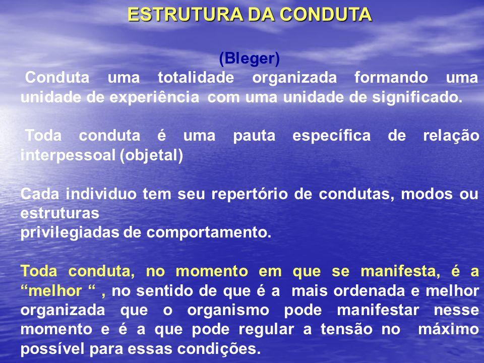 ESTRUTURA DA CONDUTA (Bleger) Conduta uma totalidade organizada formando uma unidade de experiência com uma unidade de significado. Toda conduta é uma