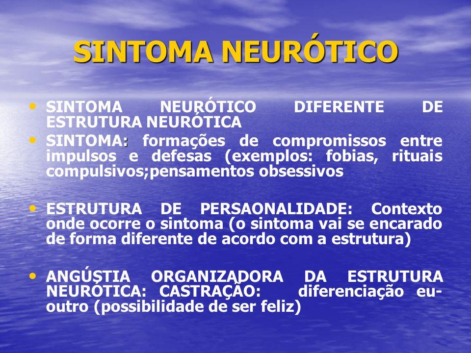SINTOMA NEURÓTICO SINTOMA NEURÓTICO DIFERENTE DE ESTRUTURA NEURÓTICA : SINTOMA: formações de compromissos entre impulsos e defesas (exemplos: fobias,