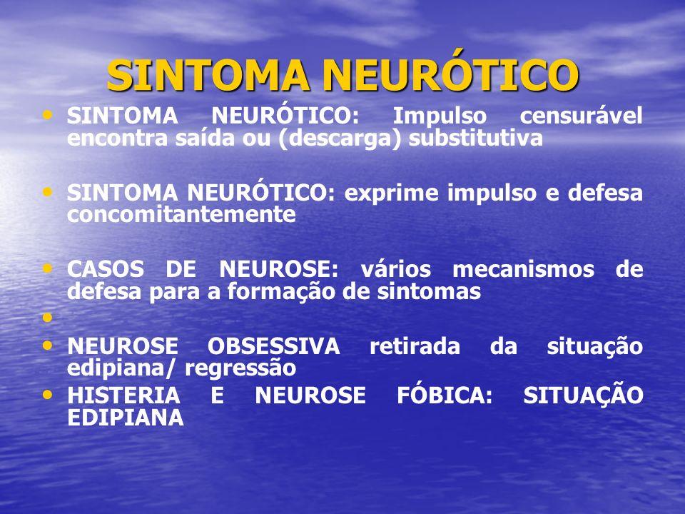 SINTOMA NEURÓTICO SINTOMA NEURÓTICO: Impulso censurável encontra saída ou (descarga) substitutiva SINTOMA NEURÓTICO: exprime impulso e defesa concomit