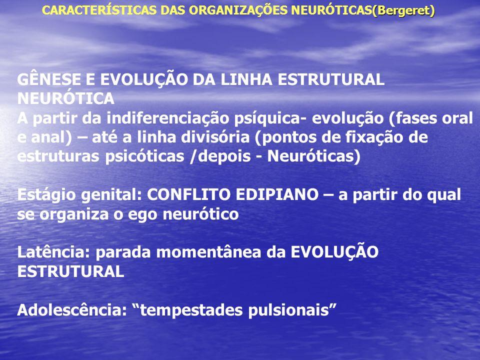 (Bergeret) CARACTERÍSTICAS DAS ORGANIZAÇÕES NEURÓTICAS(Bergeret) GÊNESE E EVOLUÇÃO DA LINHA ESTRUTURAL NEURÓTICA A partir da indiferenciação psíquica-