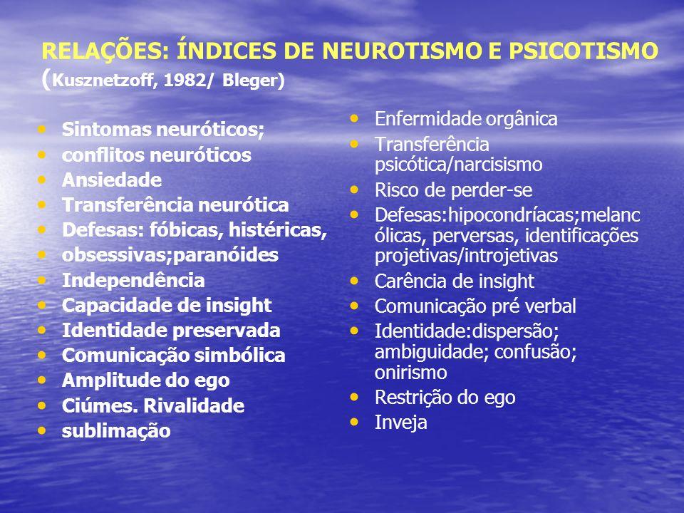 RELAÇÕES: ÍNDICES DE NEUROTISMO E PSICOTISMO ( Kusznetzoff, 1982/ Bleger) Sintomas neuróticos; conflitos neuróticos Ansiedade Transferência neurótica