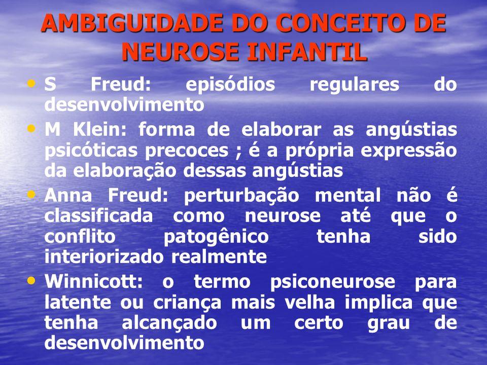 AMBIGUIDADE DO CONCEITO DE NEUROSE INFANTIL S Freud: episódios regulares do desenvolvimento M Klein: forma de elaborar as angústias psicóticas precoce