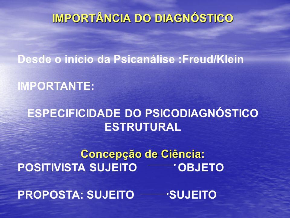 IMPORTÂNCIA DO DIAGNÓSTICO Desde o início da Psicanálise :Freud/Klein IMPORTANTE: ESPECIFICIDADE DO PSICODIAGNÓSTICO ESTRUTURAL Concepção de Ciência: