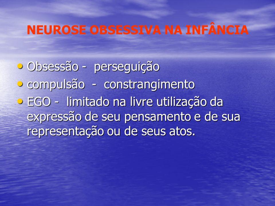 Obsessão - perseguição Obsessão - perseguição compulsão - constrangimento compulsão - constrangimento EGO - limitado na livre utilização da expressão