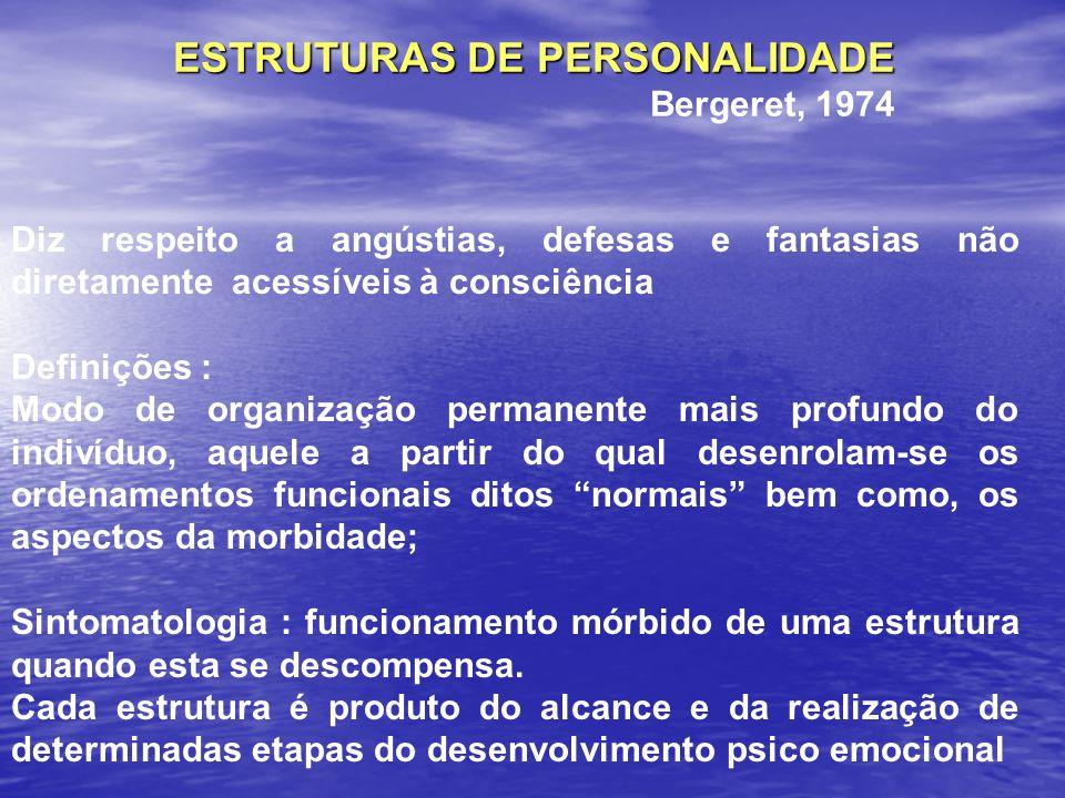 ESTRUTURAS DE PERSONALIDADE Bergeret, 1974 Diz respeito a angústias, defesas e fantasias não diretamente acessíveis à consciência Definições : Modo de