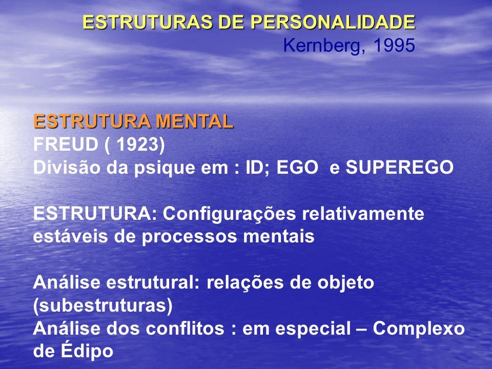 (Bergeret) CARACTERÍSTICAS DAS ORGANIZAÇÕES NEURÓTICAS(Bergeret) GÊNESE E EVOLUÇÃO DA LINHA ESTRUTURAL NEURÓTICA A partir da indiferenciação psíquica- evolução (fases oral e anal) – até a linha divisória (pontos de fixação de estruturas psicóticas /depois - Neuróticas) Estágio genital: CONFLITO EDIPIANO – a partir do qual se organiza o ego neurótico Latência: parada momentânea da EVOLUÇÃO ESTRUTURAL Adolescência: tempestades pulsionais