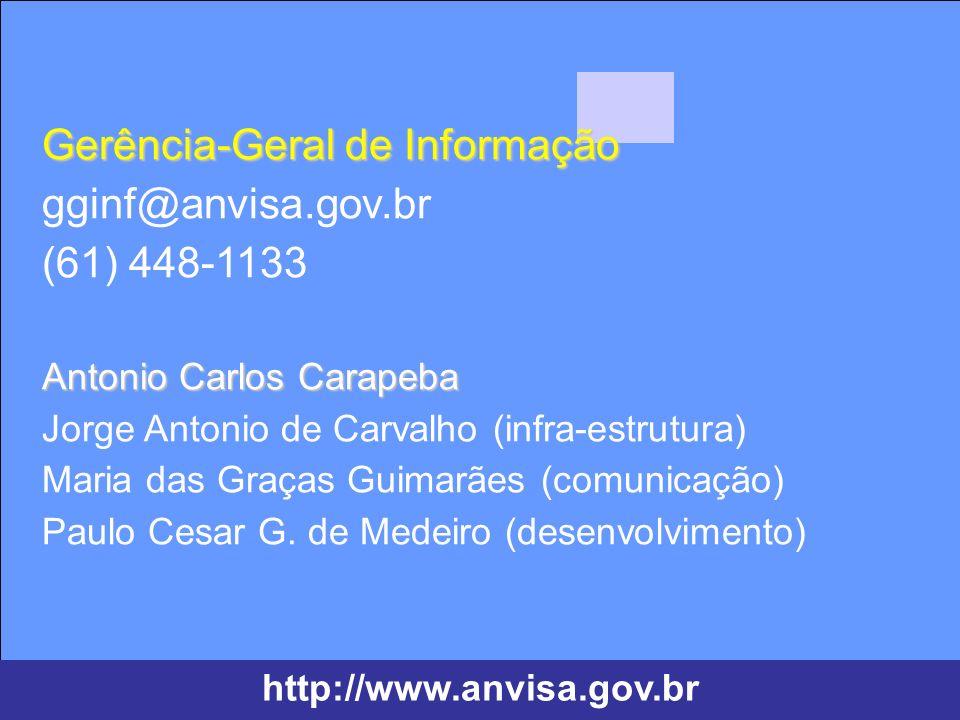 Agência Nacional de Vigilância Sanitária www.anvisa.gov.br Agência Nacional de Vigilância Sanitária www.anvisa.gov.br Gerência-Geral de Informação Ant