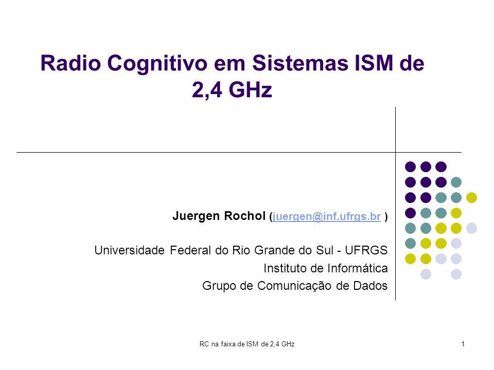 RC na faixa de ISM de 2,4 GHz1 Radio Cognitivo em Sistemas ISM de 2,4 GHz Juergen Rochol (juergen@inf.ufrgs.br )juergen@inf.ufrgs.br Universidade Fede