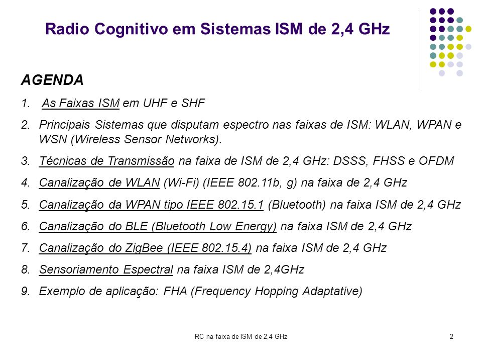 RC na faixa de ISM de 2,4 GHz2 Radio Cognitivo em Sistemas ISM de 2,4 GHz AGENDA 1. As Faixas ISM em UHF e SHF 2.Principais Sistemas que disputam espe
