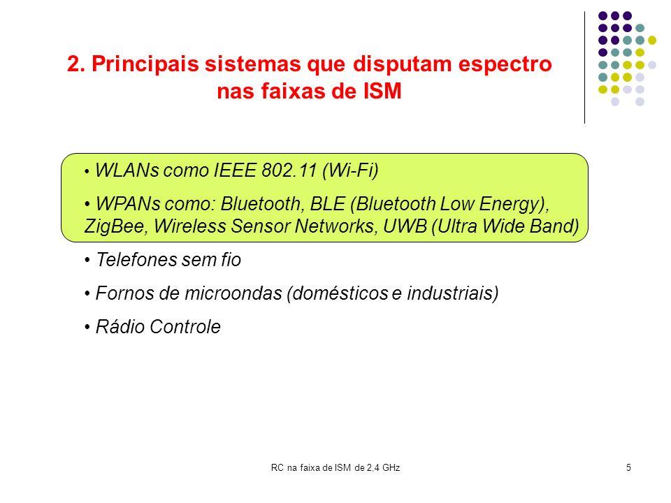 RC na faixa de ISM de 2,4 GHz5 2. Principais sistemas que disputam espectro nas faixas de ISM WLANs como IEEE 802.11 (Wi-Fi) WPANs como: Bluetooth, BL