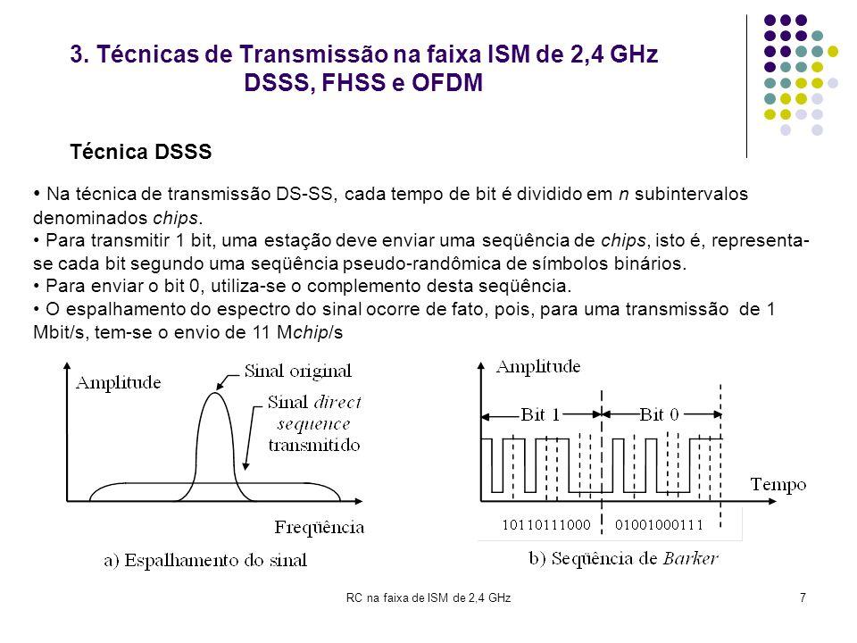 7 3. Técnicas de Transmissão na faixa ISM de 2,4 GHz DSSS, FHSS e OFDM Na técnica de transmissão DS-SS, cada tempo de bit é dividido em n subintervalo