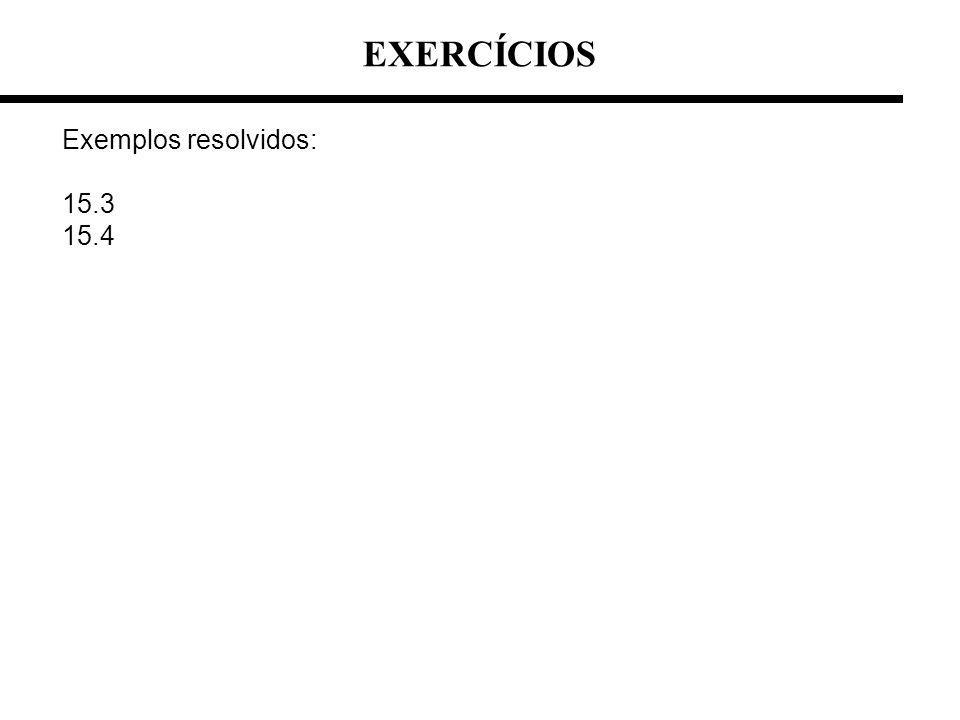 EXERCÍCIOS Exemplos resolvidos: 15.3 15.4