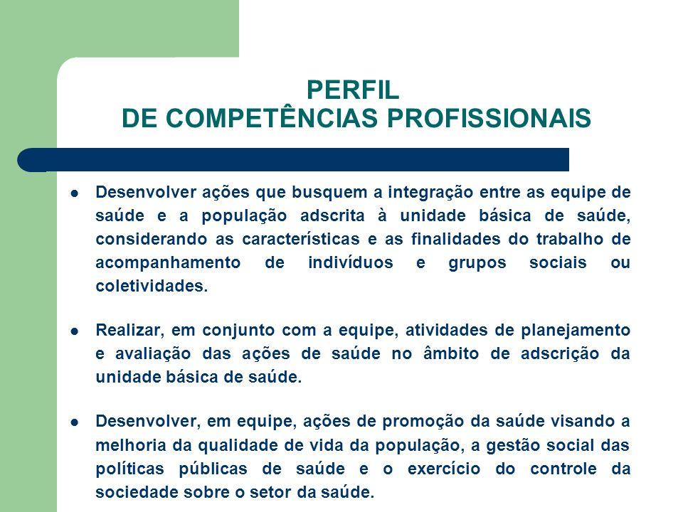 PERFIL DE COMPETÊNCIAS PROFISSIONAIS Desenvolver ações de prevenção e monitoramento dirigidas às situações de risco ambiental e sanitário para a população, conforme plano de ação da equipe de saúde.