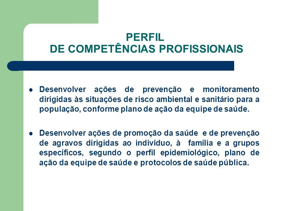 PERFIL DE COMPETÊNCIAS PROFISSIONAIS Desenvolver ações de prevenção e monitoramento dirigidas às situações de risco ambiental e sanitário para a popul