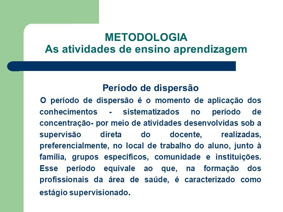 METODOLOGIA As atividades de ensino aprendizagem Período de dispersão O período de dispersão é o momento de aplicação dos conhecimentos - sistematizad