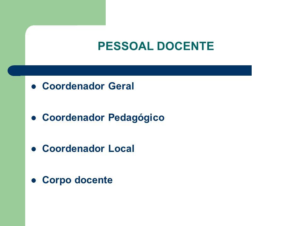PESSOAL DOCENTE Coordenador Geral Coordenador Pedagógico Coordenador Local Corpo docente