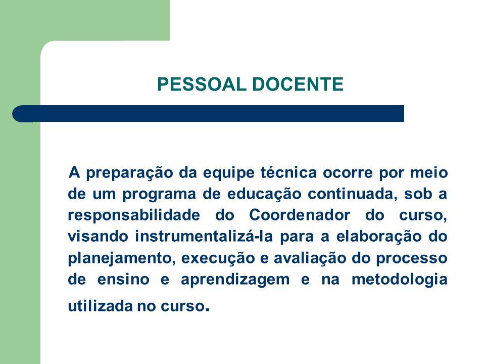 PESSOAL DOCENTE A preparação da equipe técnica ocorre por meio de um programa de educação continuada, sob a responsabilidade do Coordenador do curso,