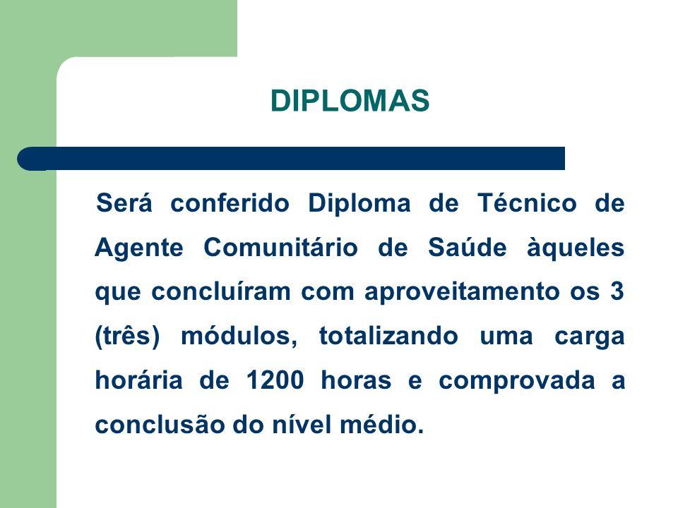 DIPLOMAS Será conferido Diploma de Técnico de Agente Comunitário de Saúde àqueles que concluíram com aproveitamento os 3 (três) módulos, totalizando u