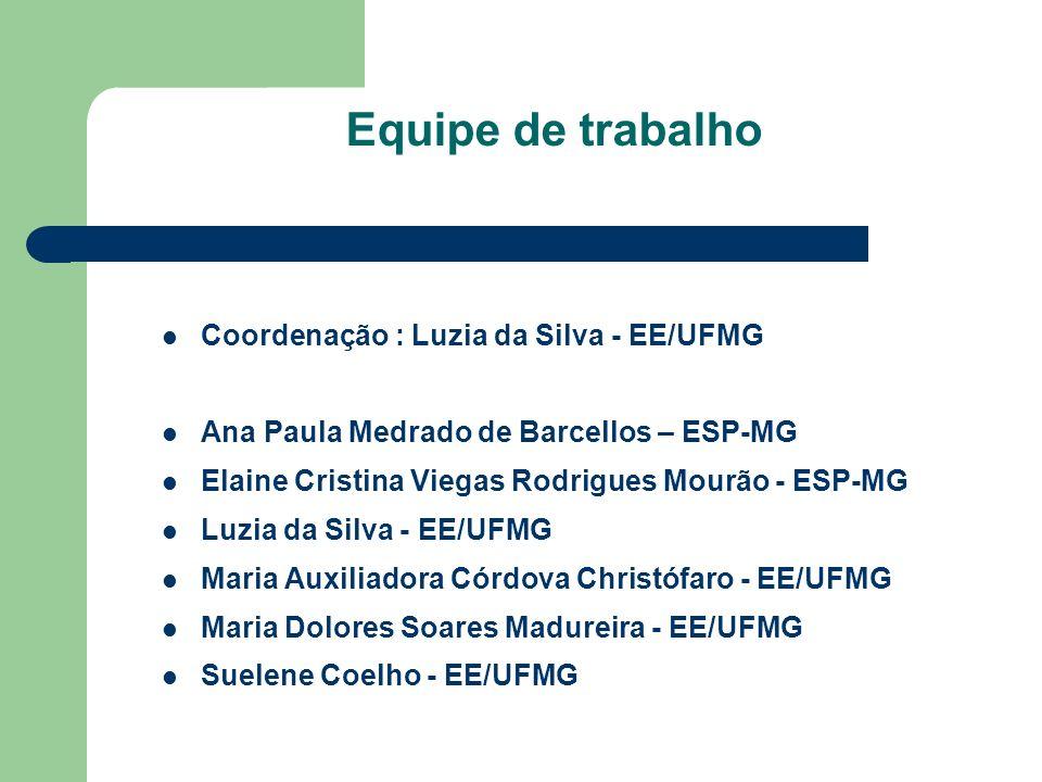 Equipe de trabalho Coordenação : Luzia da Silva - EE/UFMG Ana Paula Medrado de Barcellos – ESP-MG Elaine Cristina Viegas Rodrigues Mourão - ESP-MG Luz