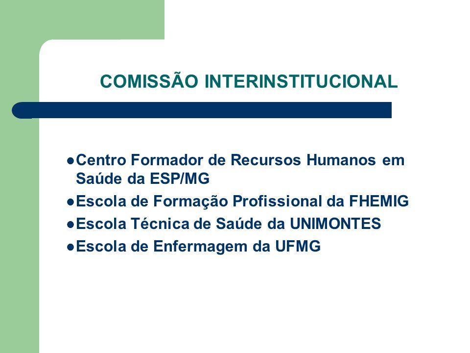 COMISSÃO INTERINSTITUCIONAL Centro Formador de Recursos Humanos em Saúde da ESP/MG Escola de Formação Profissional da FHEMIG Escola Técnica de Saúde d
