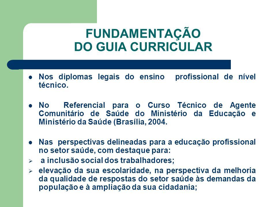 FUNDAMENTAÇÃO DO GUIA CURRICULAR Nos diplomas legais do ensino profissional de nível técnico. No Referencial para o Curso Técnico de Agente Comunitári