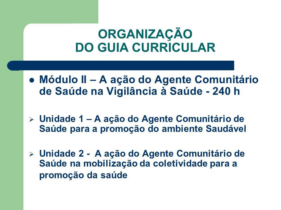 ORGANIZAÇÃO DO GUIA CURRICULAR Módulo II – A ação do Agente Comunitário de Saúde na Vigilância à Saúde - 240 h Unidade 1 – A ação do Agente Comunitári