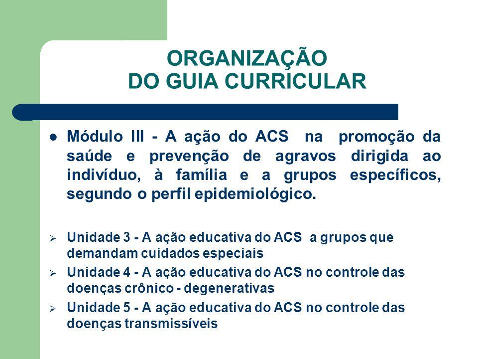 ORGANIZAÇÃO DO GUIA CURRICULAR Módulo lII - A ação do ACS na promoção da saúde e prevenção de agravos dirigida ao indivíduo, à família e a grupos espe
