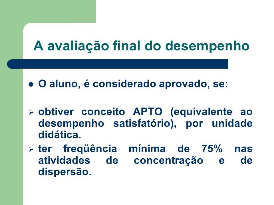 A avaliação final do desempenho O aluno, é considerado aprovado, se: obtiver conceito APTO (equivalente ao desempenho satisfatório), por unidade didát