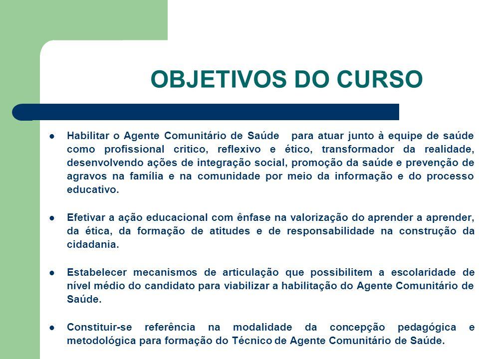 OBJETIVOS DO CURSO Habilitar o Agente Comunitário de Saúde para atuar junto à equipe de saúde como profissional critico, reflexivo e ético, transforma
