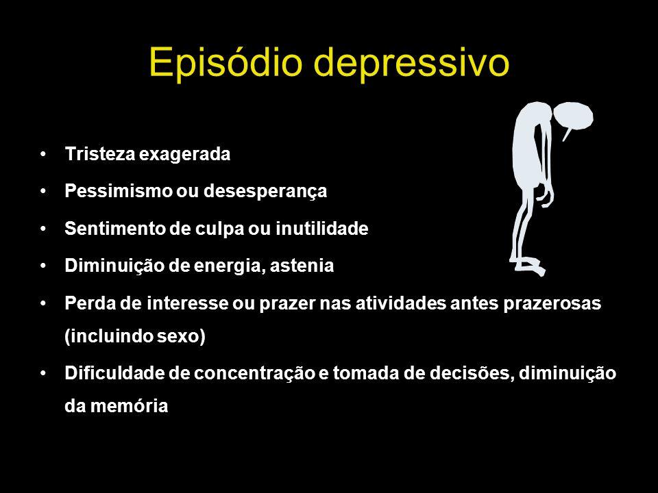 Episódio depressivo Tristeza exagerada Pessimismo ou desesperança Sentimento de culpa ou inutilidade Diminuição de energia, astenia Perda de interesse