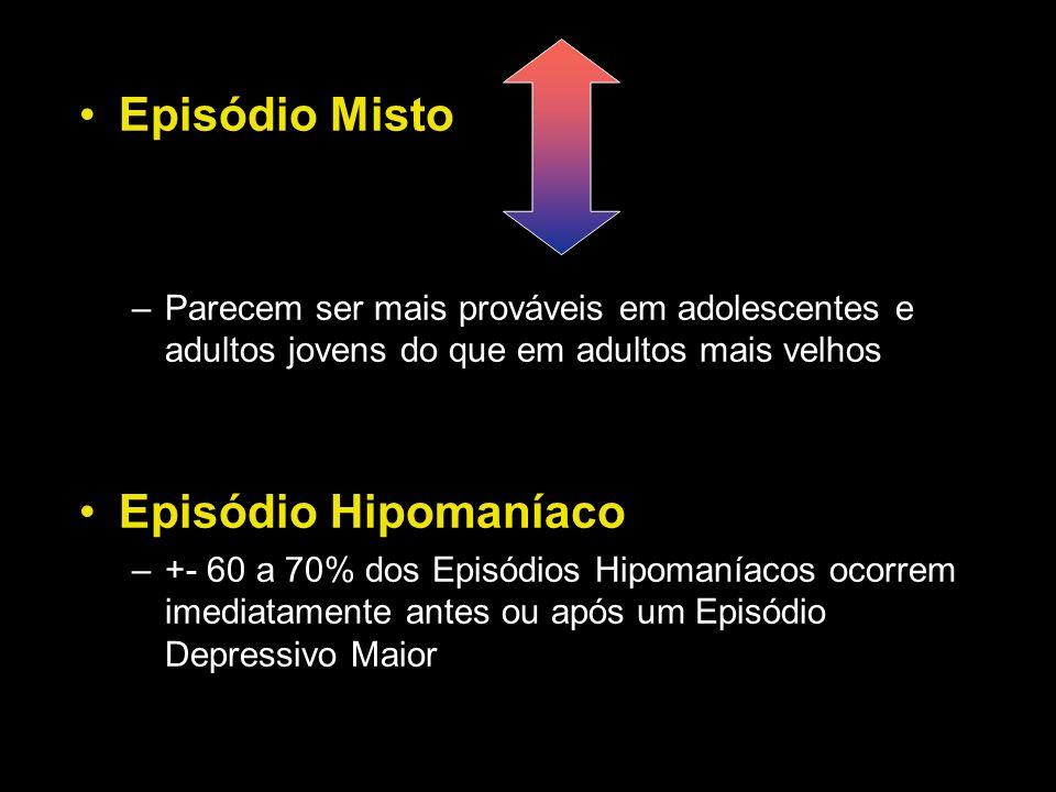 Episódio Misto –Parecem ser mais prováveis em adolescentes e adultos jovens do que em adultos mais velhos Episódio Hipomaníaco –+- 60 a 70% dos Episód