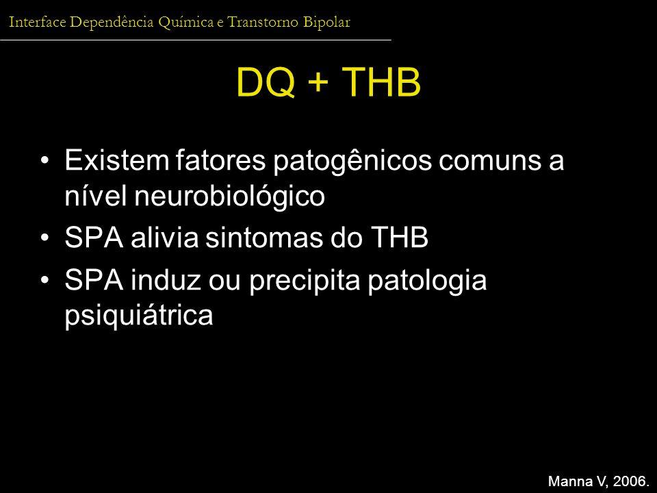 Interface Dependência Química e Transtorno Bipolar DQ + THB Existem fatores patogênicos comuns a nível neurobiológico SPA alivia sintomas do THB SPA i