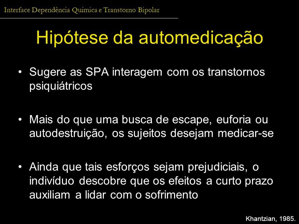 Interface Dependência Química e Transtorno Bipolar Hipótese da automedicação Sugere as SPA interagem com os transtornos psiquiátricos Mais do que uma