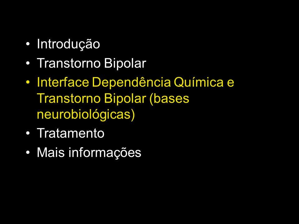 Introdução Transtorno Bipolar Interface Dependência Química e Transtorno Bipolar (bases neurobiológicas) Tratamento Mais informações