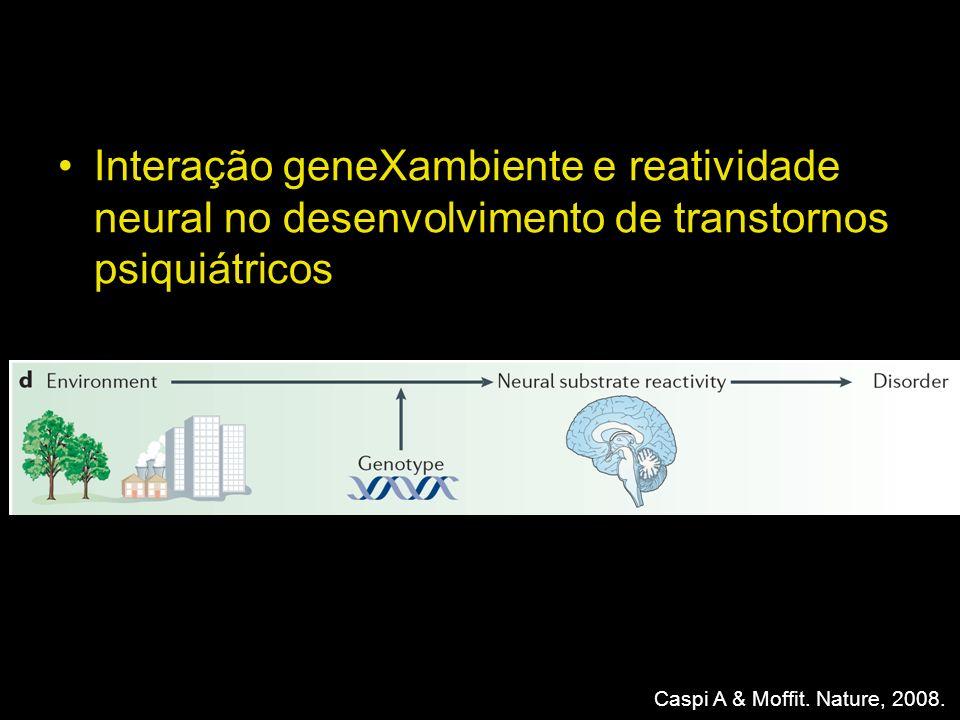 Interação geneXambiente e reatividade neural no desenvolvimento de transtornos psiquiátricos Caspi A & Moffit. Nature, 2008.