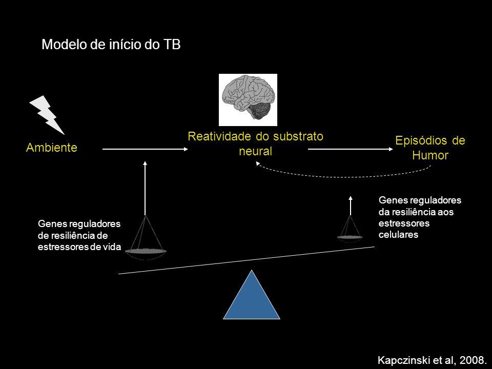 Ambiente Reatividade do substrato neural Episódios de Humor Genes reguladores de resiliência de estressores de vida Modelo de início do TB Kapczinski