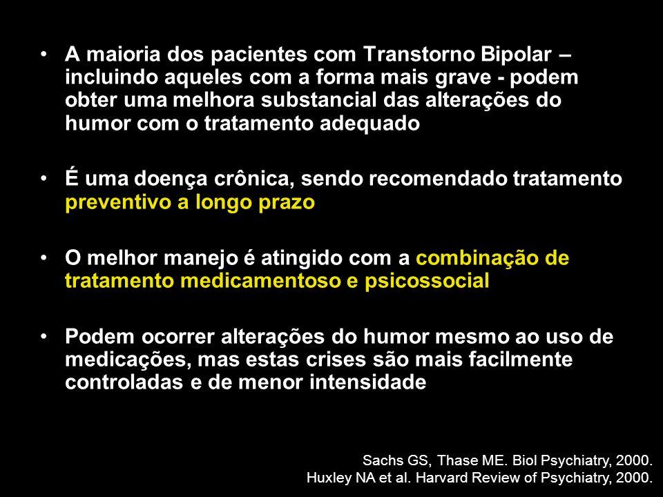 A maioria dos pacientes com Transtorno Bipolar – incluindo aqueles com a forma mais grave - podem obter uma melhora substancial das alterações do humo