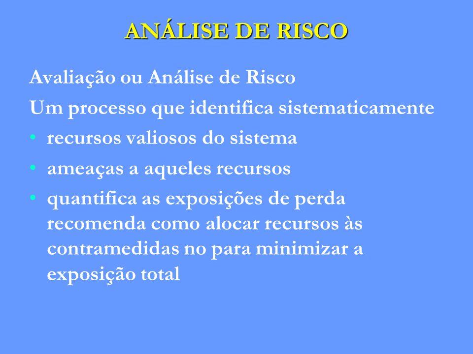 ANÁLISE DE RISCO Avaliação ou Análise de Risco Um processo que identifica sistematicamente recursos valiosos do sistema ameaças a aqueles recursos qua
